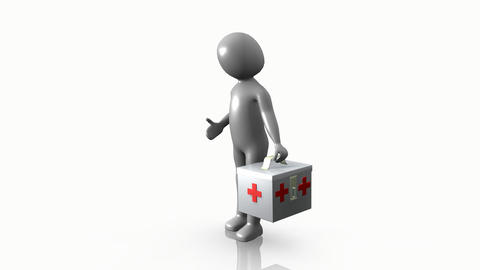3D man holding a first aid kit Footage