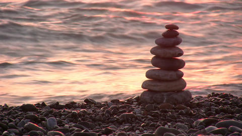 pyramid on beach Stock Video Footage