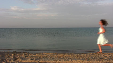 running woman on beach Stock Video Footage