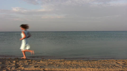 running woman on beach Stock Video Footage
