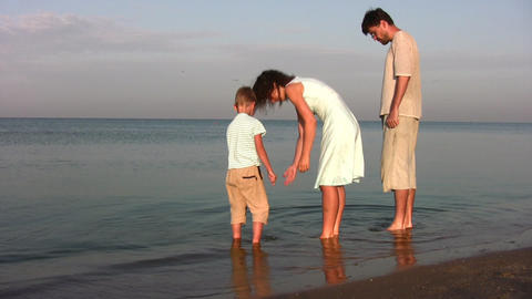family with boy searching shells Stock Video Footage