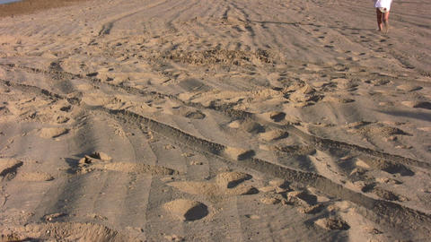 running little girl on sand alone Stock Video Footage