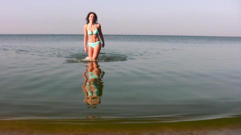 woman walking on water Footage