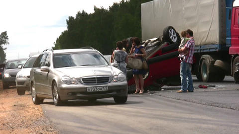 MOSCOW, RUSSIA - AUGUST 3: Road accident August 3, 2008... Stock Video Footage