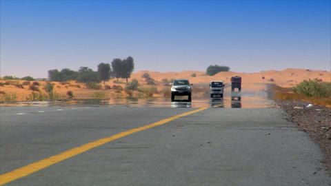 car desert heat haze Stock Video Footage
