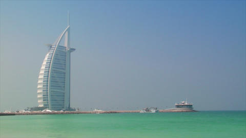 blue sky to Burj al Arab tilt Footage
