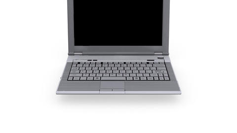 Laptop with help key flashing - White Background -... Stock Video Footage