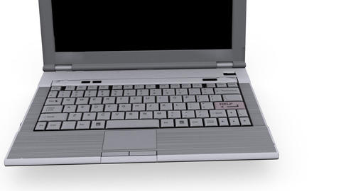 Laptop with help key flashing - White Background - Technology Animation