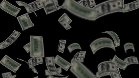 Dollar bills falling like rain - Wealth - Finance - Black Background - Loopable Animation