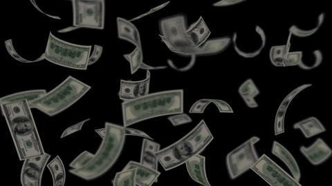 Dollar bills falling like rain - Wealth - Finance - Black... Stock Video Footage