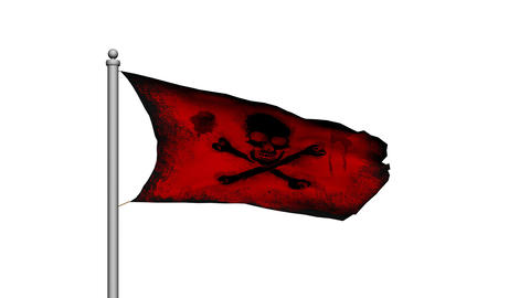 Skull and crossbones pirate flag on white background -... Stock Video Footage