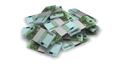 Euro money bundles rotating on white background - Banknote - Finance - Wealth Animation