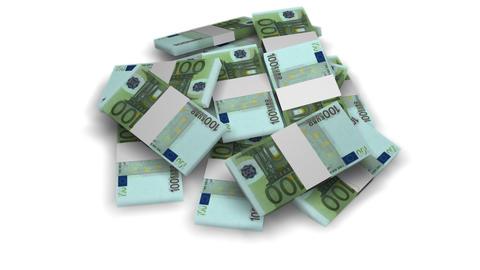 Euro money bundles rotating on white background -... Stock Video Footage