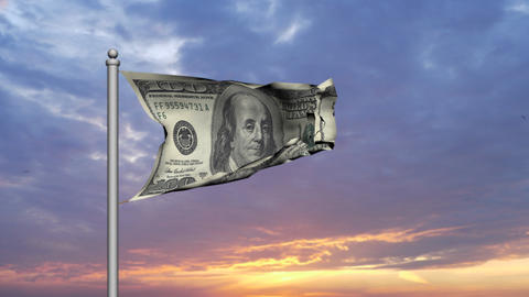 Dollar bill money flag against sunset cloudy sky -... Stock Video Footage
