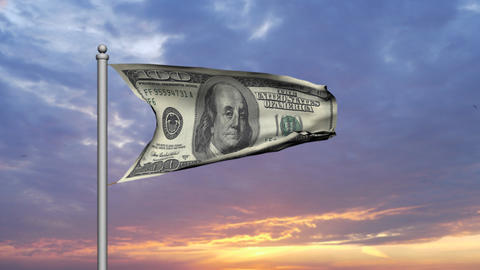Dollar bill money flag against sunset cloudy sky - Finance - Wealth Animation