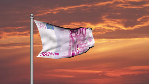 Euro banknote money flag against sunset cloudy sky - Finance - Wealth Animation