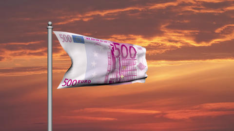 Euro banknote money flag against sunset cloudy sky -... Stock Video Footage