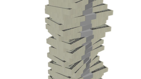 Dollar banknote money tower on white background - Finance - Wealth Animation