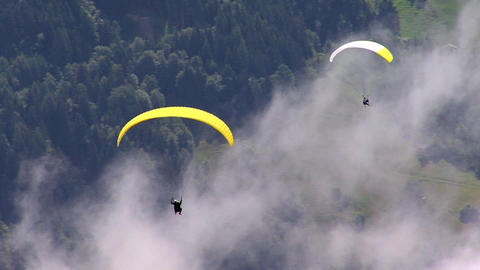 two 2 paraglider over austrian zillertal 02 Footage