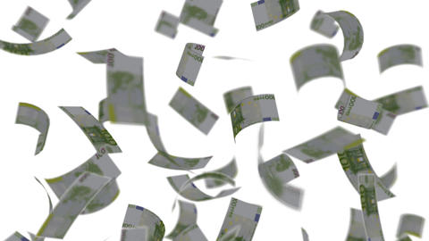 Euro banknotes falling like rain - Wealth - Finance - White Background - Loopable Animation