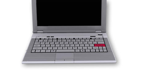 Laptop with SOS key on white background - Technology Stock Video Footage