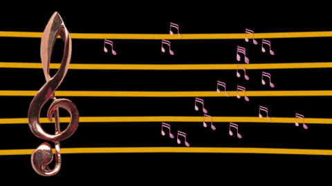 Treble clef and musical notes moving - Low-tempo - Music Animation