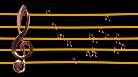 Treble clef and musical notes moving - Low-tempo - Music Stock Video Footage