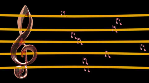 Treble clef and musical notes moving left and right - Tempo - Music Animation