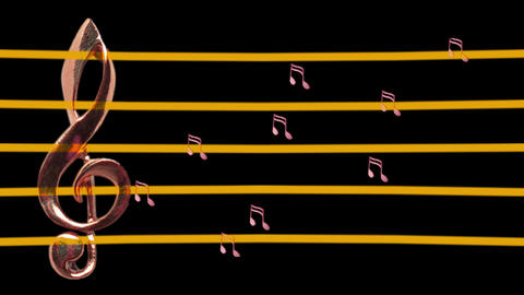 Treble clef and musical notes moving left and right -... Stock Video Footage