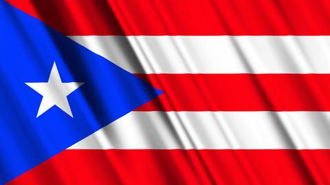 PuertoRicoFlagLoop01 Stock Video Footage