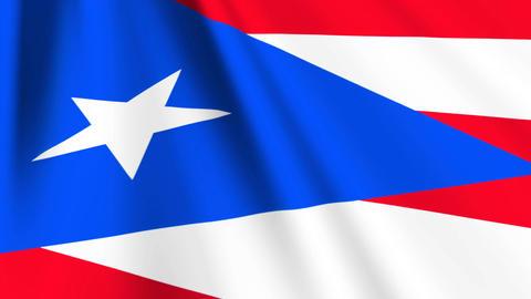 PuertoRicoFlagLoop03 Stock Video Footage
