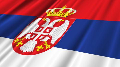 SerbiaFlagLoop02 Stock Video Footage