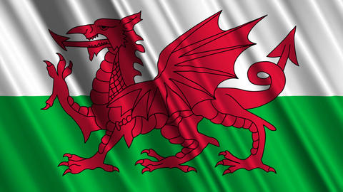 WalesFlagLoop01 Stock Video Footage