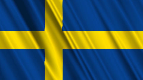 SwedenFlagLoop01 Stock Video Footage
