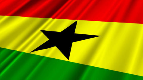 GhanaFlagLoop02 Stock Video Footage