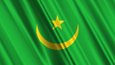 MauritaniaFlagLoop01 Stock Video Footage