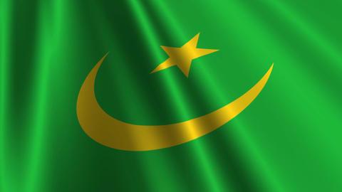 MauritaniaFlagLoop03 Stock Video Footage