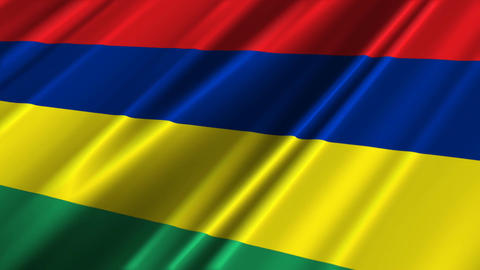 MauritiusFlagLoop02 Stock Video Footage