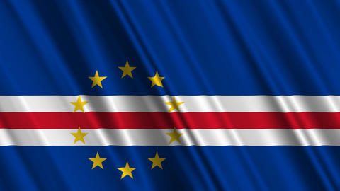 CapeVerdeFlagLoop01 Stock Video Footage