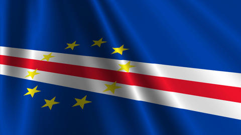 CapeVerdeFlagLoop03 Stock Video Footage