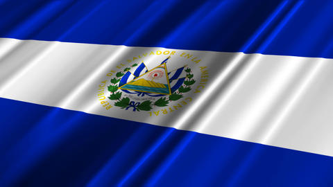 ElSalvadorFlagLoop02 Stock Video Footage