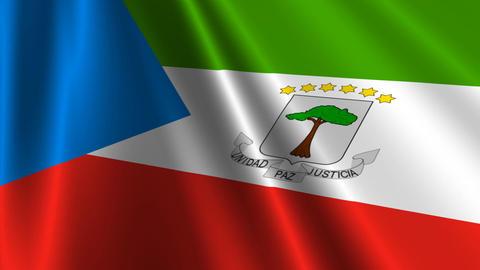 EquatorialGuineaFlagLoop03 Stock Video Footage