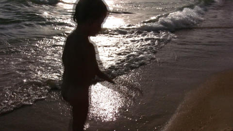 silhouette little girl on beach Stock Video Footage