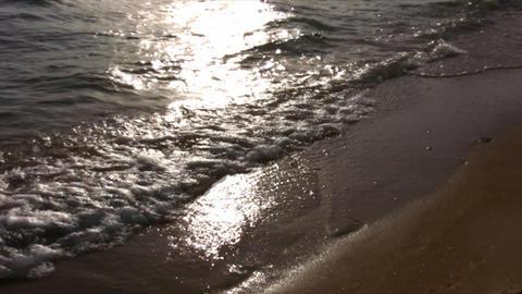 silhouette little girl on beach Stock Video Footage