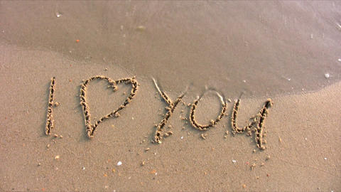 I love you word on beach Footage