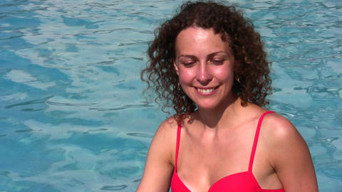 smiling woman and pool Stock Video Footage