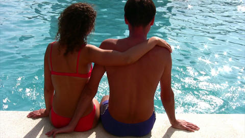 couple and pool Stock Video Footage