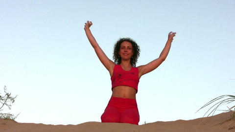 yoga woman on sand Stock Video Footage