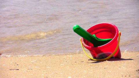 bucket on beach Stock Video Footage