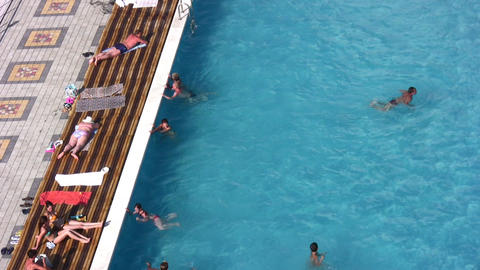 people in pool Stock Video Footage